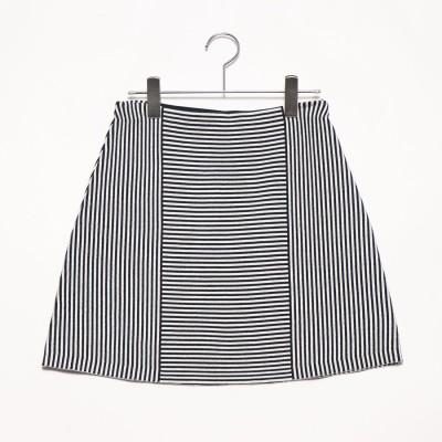 リネーム Rename ボーダー切り替えデザインスカート (ブラック)