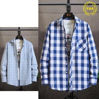カジュアルシャツ メンズ チェックシャツ トップス シャツ 長袖 チェック柄 スリム ビジネスカジュアル 10代 20代 30代 ファッション
