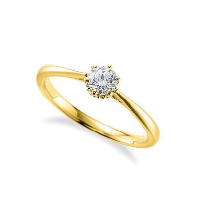 指輪 18金 イエローゴールド 天然石 一粒リング 主石の直径約3.8mm ソリティア しぼり腕 六本爪留め K18YG 18k 貴金属 ジュエリー レディース メンズ