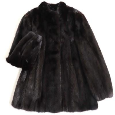 極美品▼SAGA MINK サガミンク 本毛皮コート ブラック F 毛質艶やか・柔らか◎