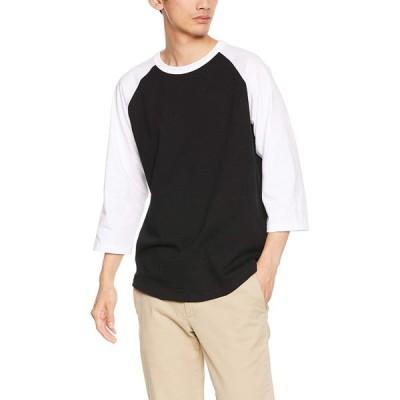 ユナイテッドアスレ 5.6ozラグラン3/4スリーブTシャツ メンズ 504501 ブラック/ホワイト 日本 L (日本サイズL相当)