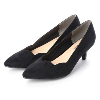 マシュガール masyugirl 3E/幅広ゆったり・大きいサイズの靴 フラワーカットミドルヒールパンプス (ブラック) SOROTTO