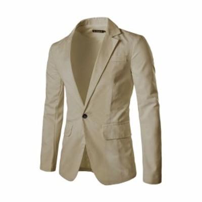 Allegra K メンズ ブレザー ジャケット 長袖 ビジネス 一つボタン シンプル フォーマル カジュアル ベージュ S/34