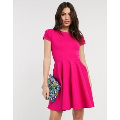 クローゼットロンドン レディース ワンピース トップス Closet London short sleeve skater dress in pink Pink