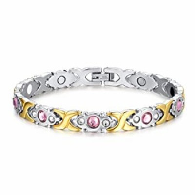 Titanium Stainless Steel Magnetic Bracelet Link Stylish Women's Bracelets with Rhinestone,2 Colors to Choose (Silver+Gold)