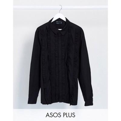 エイソス メンズ シャツ トップス ASOS DESIGN Plus regular fit shirt with extreme ruffle front in black