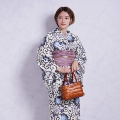 浴衣 セット レディース 浴衣 3点セット(浴衣/帯/下駄)浴衣セット 大人 女性 紺 白 ネイビー 水色 紫 牡丹 唐草 夏の着物