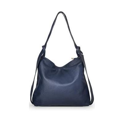 LIATALIA Womens Shoulder Backpack Bag - Mutiple Use Dual Style Soft Italian Leather Handbag - Unique Plain yet Trendy Rucksack Bag - Nicole (Navy) 並