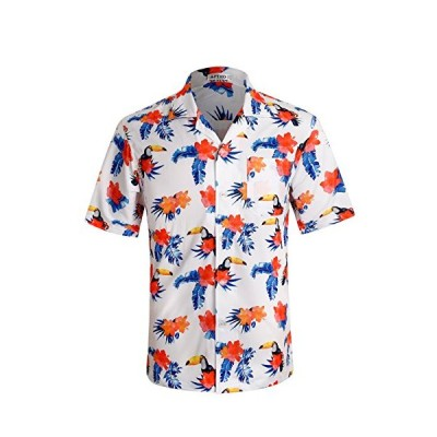 Men's Hawaiian Shirt 4 Way Stretch Relax Fit Floral Tropical Shirts HWS018 L【並行輸入品】