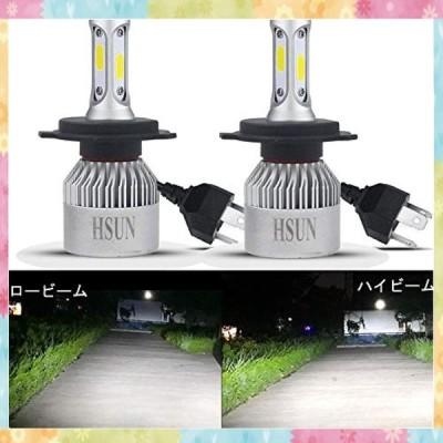 HSUN 車用 H4/9003 led ヘッドライト,Hi/Lo切替 バルブ 一体型 12V車用 H4 LED バルブ 8000 采用 LM COB 完全?光芯片 9V-32V