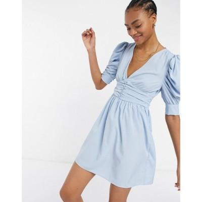 ヴィラ Vila レディース ワンピース ラップドレス 7分丈 ミニ丈 mini dress with wrap front and ruffled 3/4 length sleeves in blue アシュリーブルー
