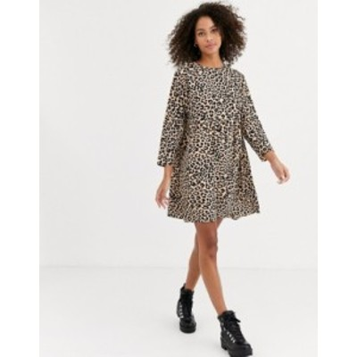 エイソス レディース ワンピース トップス ASOS DESIGN long sleeve smock mini dress in leopard print Leopard print