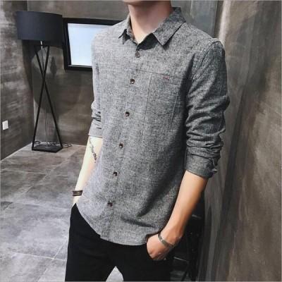 シャツ メンズ Tシャツ 長袖 開襟 ワイシャツ トップス スリム ワークシャツ カジュアル おしゃれ 春 夏 秋 冬 お兄系 大きいサイズ