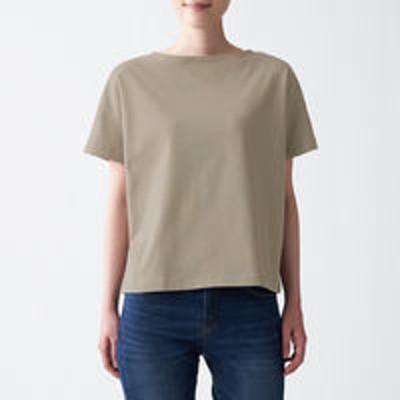 良品計画無印良品 太番手天竺編みボートネックTシャツ 婦人 M~L ライトベージュ 良品計画