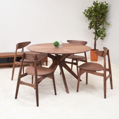 幅120cm ダイニング 丸テーブル 5点セット  sbkt120-5-marut351wn 北欧 光線張り ウォールナット 板座 4人用 モダン アウトレット so