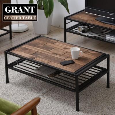ローテーブル リビングテーブル スリム 小さめ 木製 おしゃれ ヴィンテージ センターテーブル 長方形 テーブル パソコン リビング 棚付き 幅90