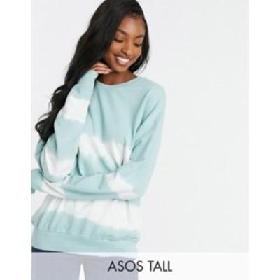 エイソス レディース シャツ トップス ASOS DESIGN Tall sweatshirt in tie dye stripe Green