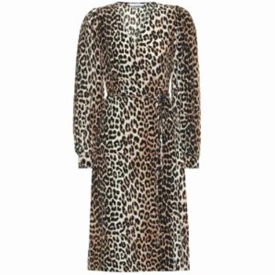 ガニー Ganni レディース ワンピース ワンピース・ドレス Leopard-printed silk-blend dress Leopard