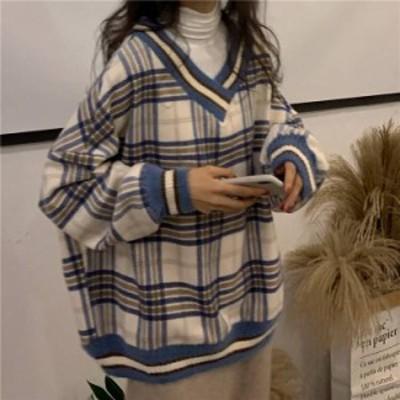 ニットセーター Vネック ゆるめ 大きめライン あったか レトロ 通勤 日常使い 着まわし 韓国風 カジュアル 格子柄 チェック ゆったり