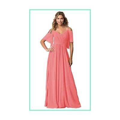 KKarine A Line Flutter Sleeves Sash Bridesmaid Dresses Coral Ruched Chiffon Long Wedding Party Dress Plus Size 22W並行輸入品