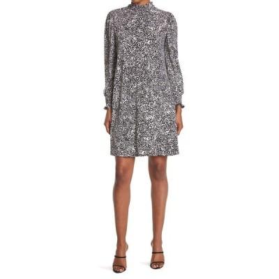 ロンドンタイムス レディース ワンピース トップス Animal Print Smocked Neck Jersey Dress BLK/CREAM