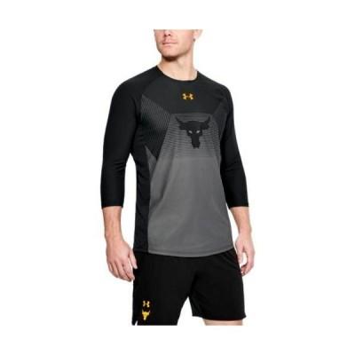 即納 アンダーアーマー メンズ プロジェクト ロック ロンT UA x Project Rock Vanish Sleeve トレーニング Tシャツ Black/Steeltown Gold