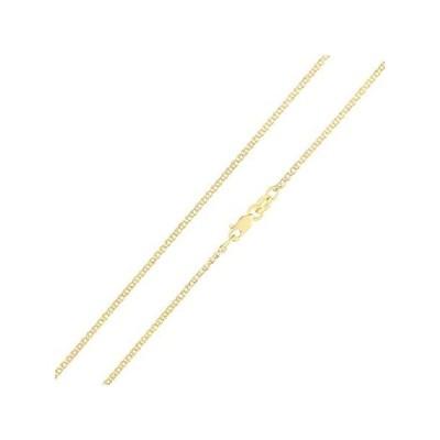【新品】Iokaジュエリー–14Kイエロー開くソリッドゴールド1.5MMフラット小麦チェーンネックレス