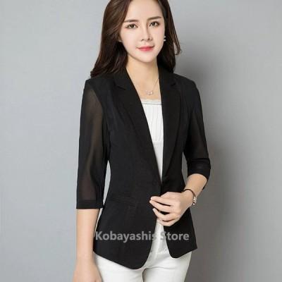 夏テーラードジャケットレディース大きいサイズサマージャケット7分袖黒白通勤OLオフィスジャケット薄手ライトアウター