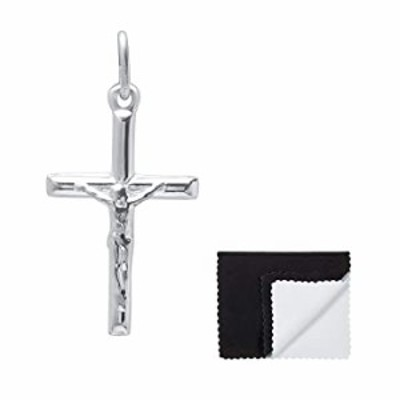 925 Sterling Silver Jesus Crucifix Cross Pendant, Size: Small