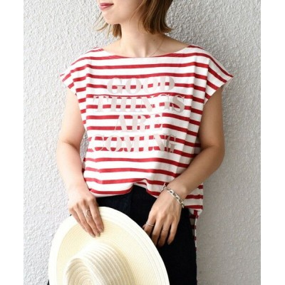 SHIPS for women/シップスウィメン 【WEB限定】プリントボーダールーズトップス◇ レッド SMALL