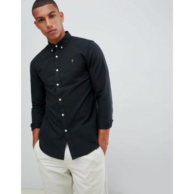 ファラー ワークシャツ メンズ Farah Brewer slim fit oxford shirt in black エイソス ASOS ブラック 黒