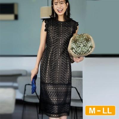 Ranan 【M~LL】幾何柄レースミディ丈ドレス ブラック M レディース