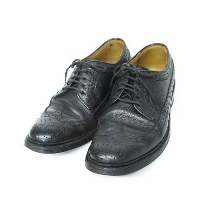 【中古】リーガル REGAL ビジネス シューズ ウイングチップ メダリオン レザー 型押し 靴 2585 小さいサイズ 黒 24cm EE ◆NK-20091 ◆08 メンズ