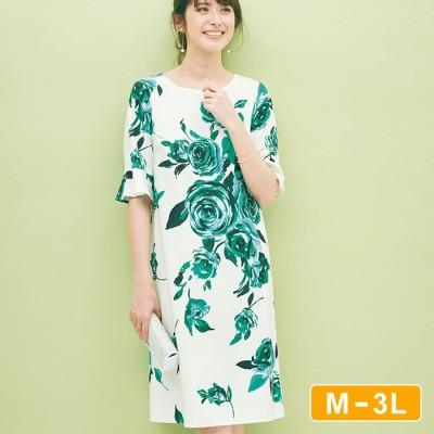 Ranan 【M~3L】バラ柄サックワンピース グリーン M レディース