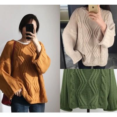全3色 ニット 厚手 体型カバー 着痩せ 縄編み 長袖 カットソー 無地 シンプル カジュアル