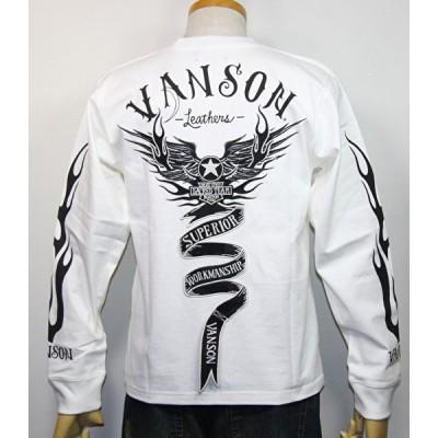 VANSON・バンソン  モーターサイクル フライングスター エンブレム 長袖Tシャツ NVLT-2026【オフホワイト】(2427)新品/送料無料