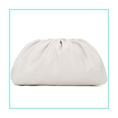 【新品】Dumpling Cloud Clutch Purses for Women Crossbody Bags Genuine Leather with Ruched Detail (Beige-Large)(並行輸入品)