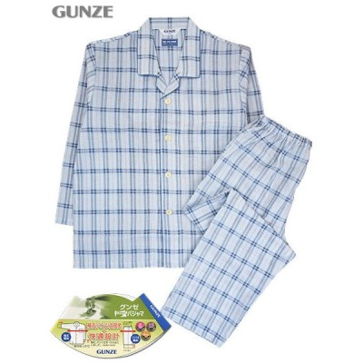 GUNZE グンゼ メンズ長袖長パンツパジャマ 快適設計 チェック柄 夏用 SF2341 [M、Lサイズ] 紳士 ホームウェア
