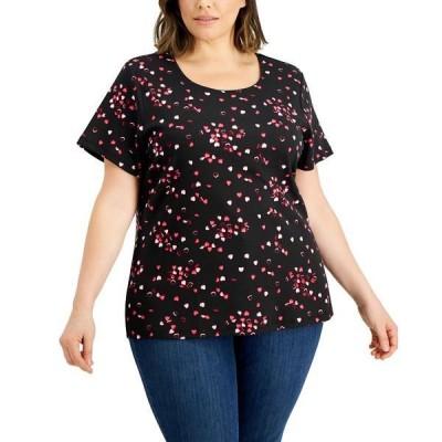 ケレンスコット Tシャツ トップス レディース Plus Size Heart-Print T-Shirt, Created for Macy's Deep Black