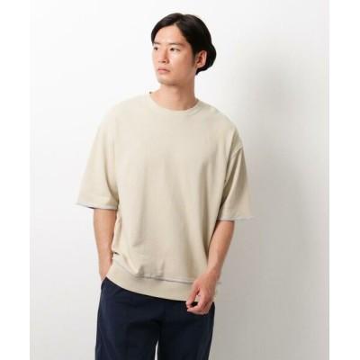 THE SHOP TK/ザ ショップ ティーケー 配色裏毛5分袖スウェットTシャツ ベージュ(052) 04(LL)
