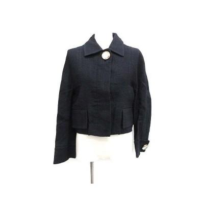 【中古】マルニ MARNI ジャケット ショート丈 ステンカラー ビジュー 比翼 リネン混 麻混 36 S 紺 ネイビー /MF32 レディース 【ベクトル 古着】
