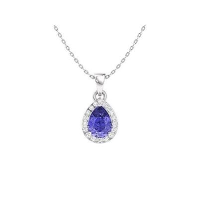 Diamondere 天然認定ペアカット宝石とダイヤモンド ヘイロードロップ プチネックレス 14Kホワイトゴールド 0.33カラットペンダント チェ