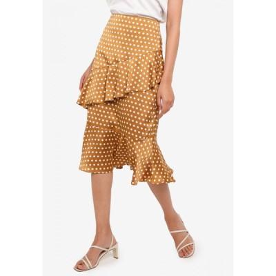 ザローラ ZALORA レディース ひざ丈スカート スカート Ruffles Detail Midi Skirt Mustard/White