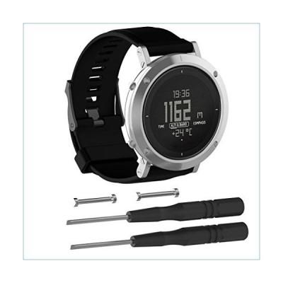 MoreToys Watch Band for Suunto Core, Soft Silicone Replacement Accessory Classic Wristband Wrist Strap Bracelet for Suunto Core Smart Watch (Black)並
