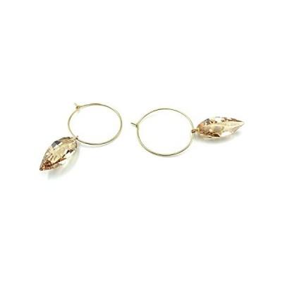 16K Gold Plated Brass Hoop Earrings with Swarovski Crystal Teardrop Dangle, Handmade Designer Jewelry for Women