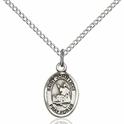 """F A Dumont Sterling Silver St. John Licci Pendant with 18"""" Stainless Steel Lite Curb Chain. Patron Saint of Head Injuries"""