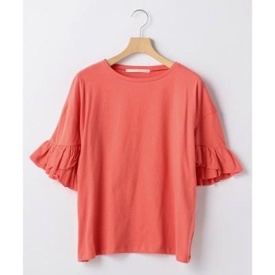 tシャツ Tシャツ コットンソフト天竺袖口フリルプルオーバー
