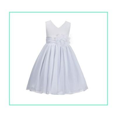 ekidsbridal Princess Dresses Yoryu Chiffon V-Neck Bodice Flower Girl Dress Wedding First Communion Dress 1503 6 White並行輸入品