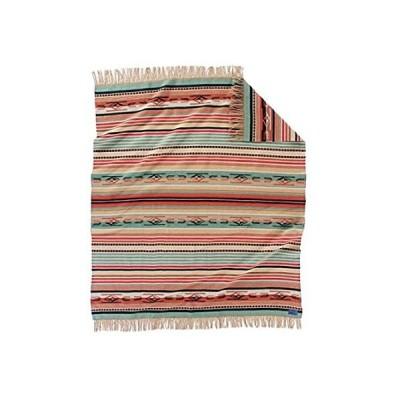特別価格Pendleton Chimayo ウール スローサイズ ブランケット コーラル/アクアストライプ好評販売中