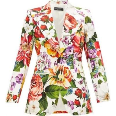 ドルチェ&ガッバーナ Dolce & Gabbana レディース スーツ・ジャケット アウター Single-Breasted Floral-Print Cotton-Blend Jacket White